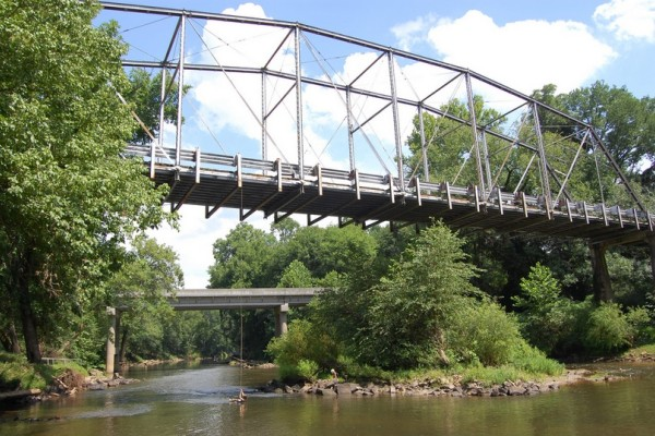 Camelback Bridge stretches over a river in North Carolina