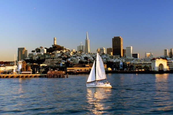 San Francisco Coast Image (Sailboat on Water)